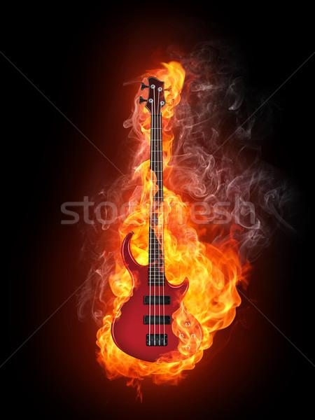 Elektromos basszus gitár tűz izolált fekete Stock fotó © RAStudio