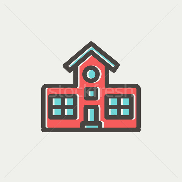 School building thin line icon Stock photo © RAStudio