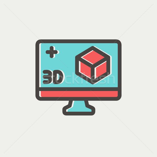 3D cuadro delgado línea icono Foto stock © RAStudio