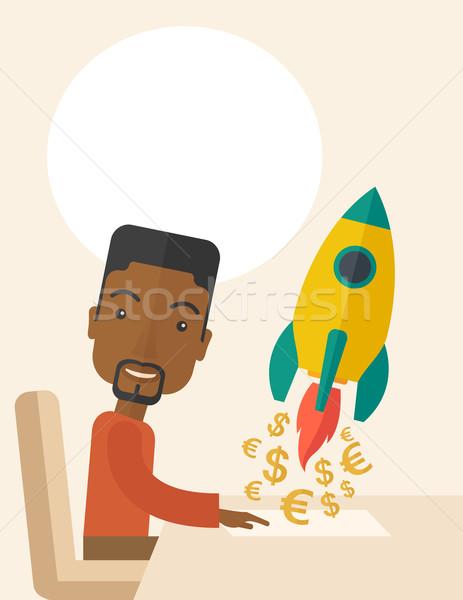 黒 男 幸せ 開始 アップ 新しい ストックフォト © RAStudio