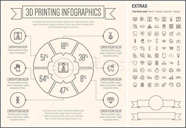 Trois impression ligne design modèle Photo stock © RAStudio