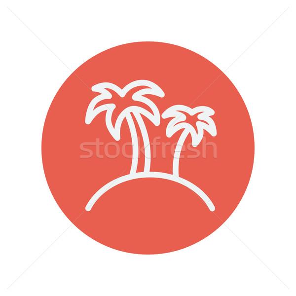 Due palme sottile line icona web Foto d'archivio © RAStudio
