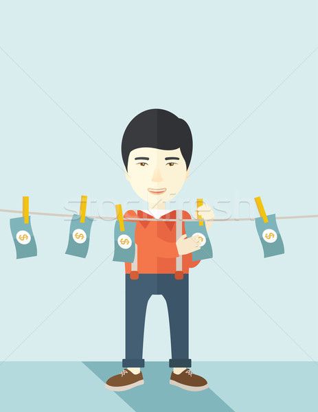 Chinese buisnessman hang his money. Stock photo © RAStudio