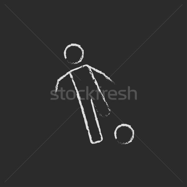 Foto stock: Futbolista · pelota · icono · tiza · dibujado · a · mano