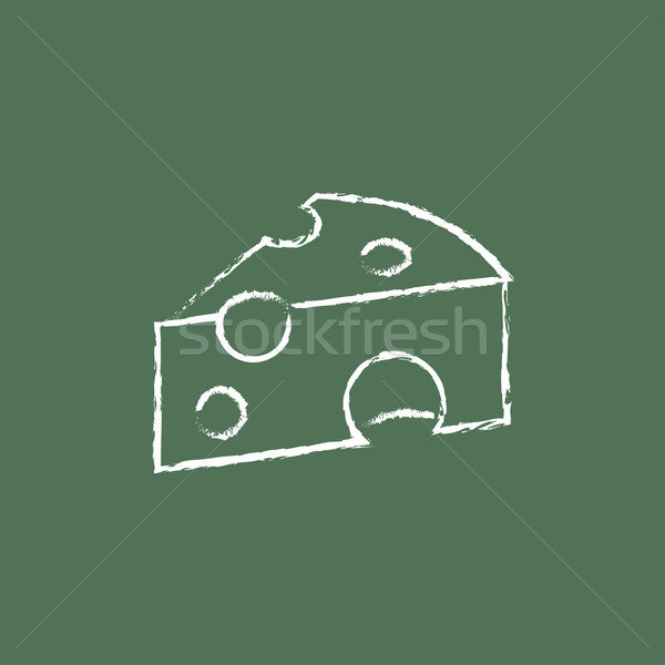 Piece of cheese icon drawn in chalk. Stock photo © RAStudio