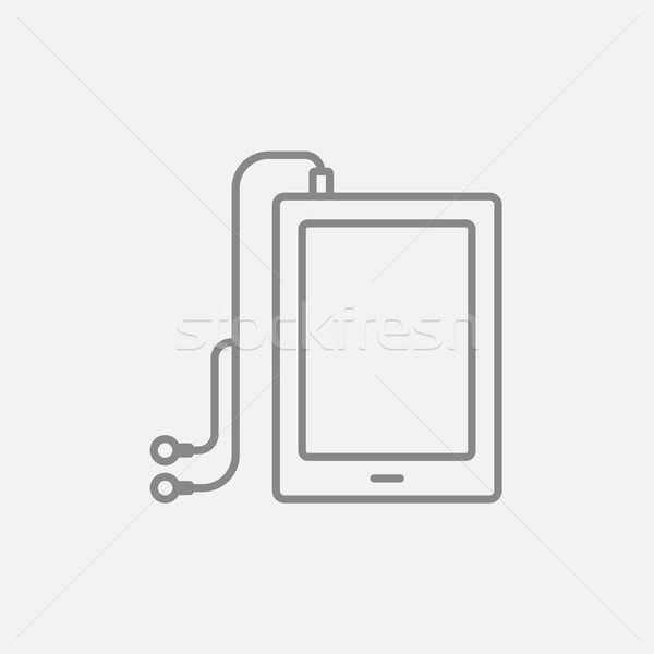 таблетка наушники линия икона веб мобильных Сток-фото © RAStudio