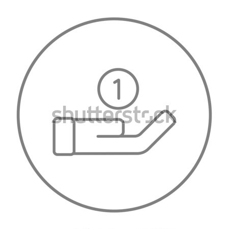 Hand and one coin line icon. Stock photo © RAStudio
