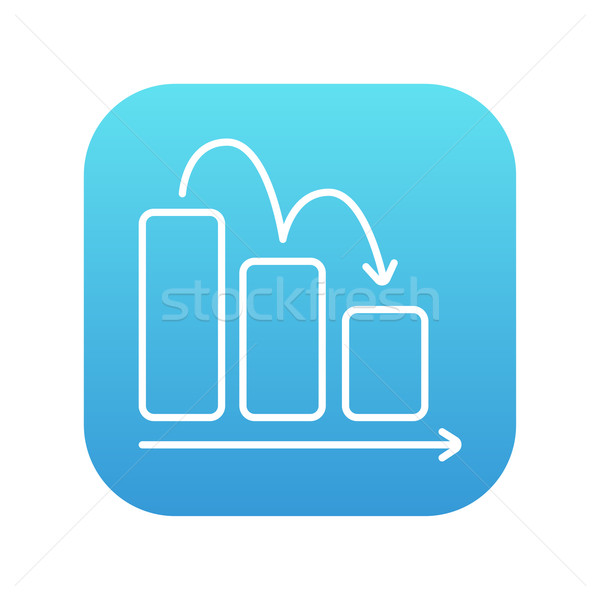 Staafdiagram beneden lijn icon web mobiele Stockfoto © RAStudio