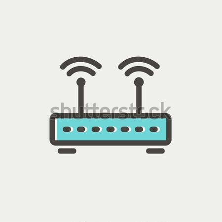 Wireless Router line Symbol Web mobile Stock foto © RAStudio
