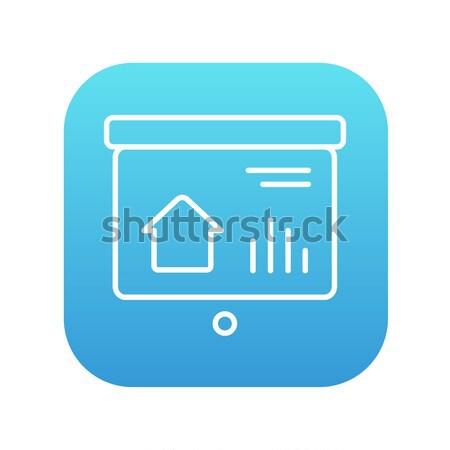 Presentation on projector screen line icon. Stock photo © RAStudio