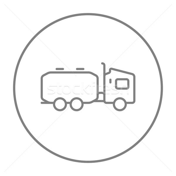 Vrachtwagen vloeibare vracht lijn icon web Stockfoto © RAStudio
