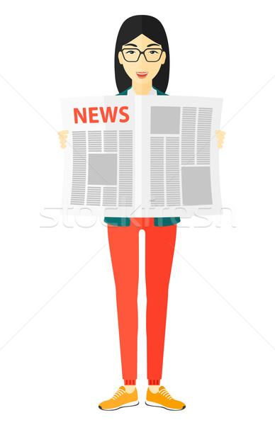 Reporter reading newspaper. Stock photo © RAStudio