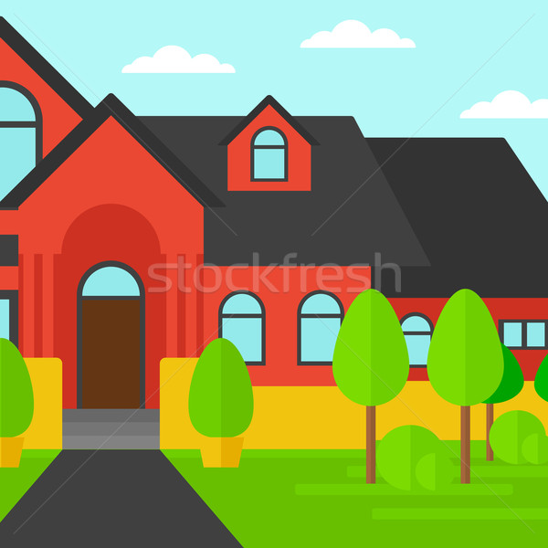 Background of red house with beautiful landscape and pathway. Stock photo © RAStudio