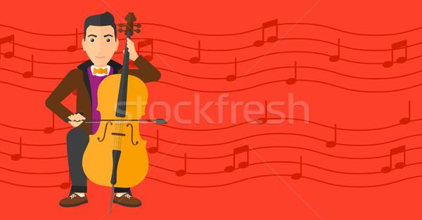 Férfi játszik cselló piros hangjegyek vektor Stock fotó © RAStudio