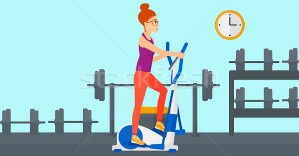 Kadın egzersiz makine spor salonu vektör Stok fotoğraf © RAStudio
