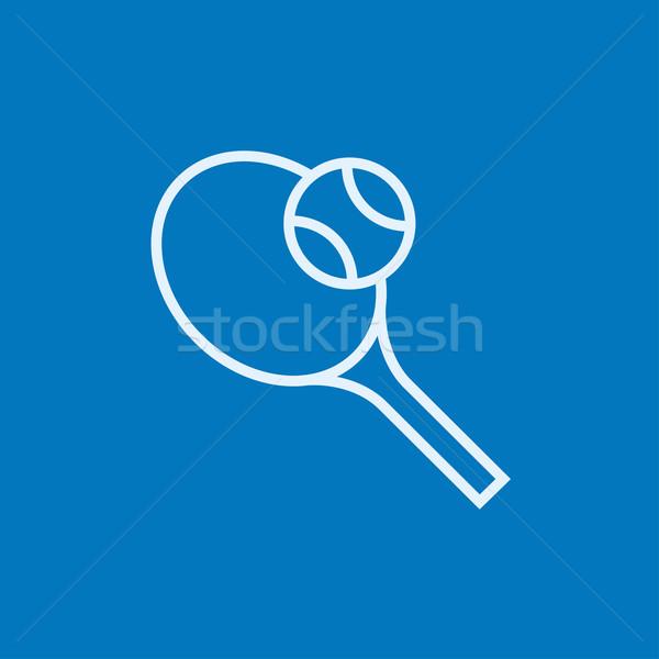 Tennis racket and ball line icon. Stock photo © RAStudio