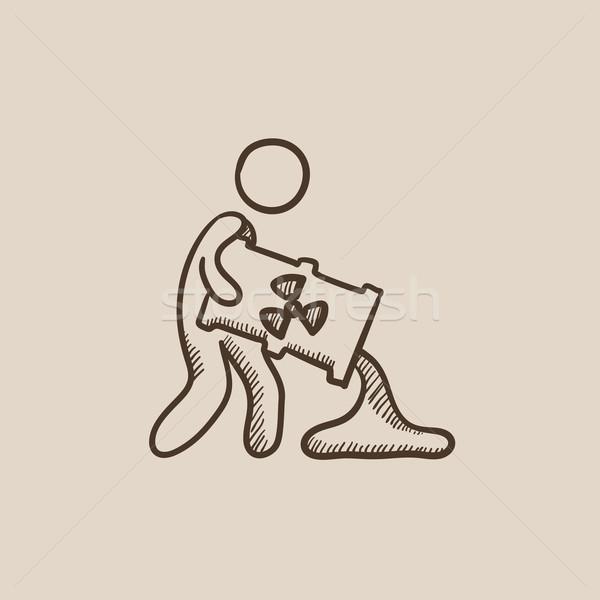 Man with oil barrel sketch icon. Stock photo © RAStudio