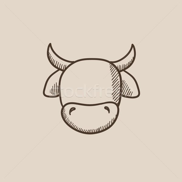 Cow head sketch icon. Stock photo © RAStudio