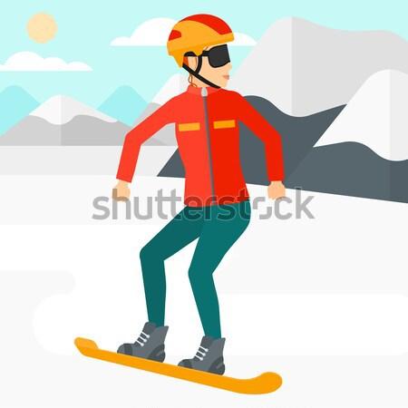 Fiatal nő snowboard ázsiai nő hó hegy Stock fotó © RAStudio