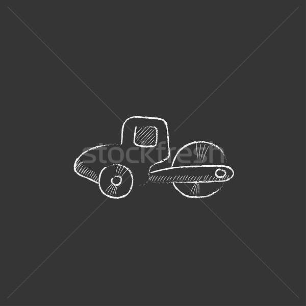 Road roller. Drawn in chalk icon. Stock photo © RAStudio