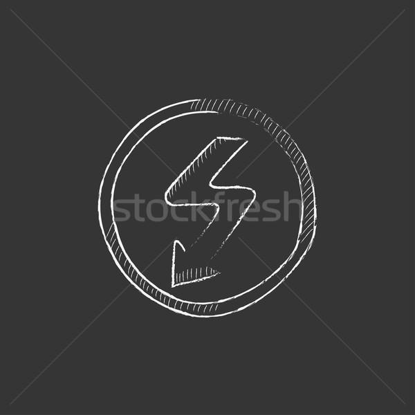 Lightning arrow downward. Drawn in chalk icon. Stock photo © RAStudio