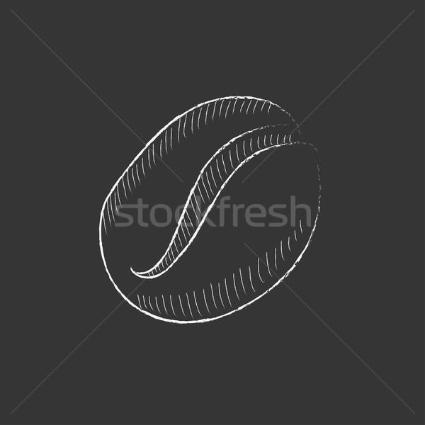 Kávébab rajzolt kréta ikon kézzel rajzolt vektor Stock fotó © RAStudio