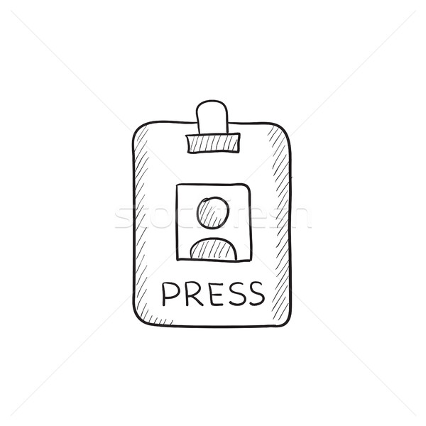 Press pass ID card sketch icon. Stock photo © RAStudio