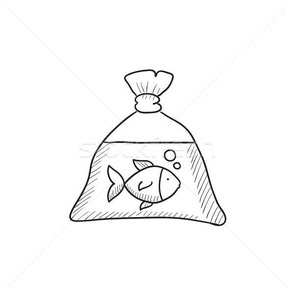 Stock fotó: Hal · műanyag · táska · rajz · ikon · vektor