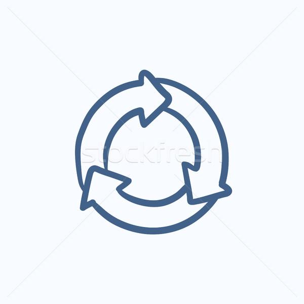 Kółko szkic ikona wektora odizolowany Zdjęcia stock © RAStudio