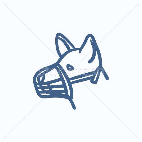 Psa kaganiec szkic ikona wektora odizolowany Zdjęcia stock © RAStudio