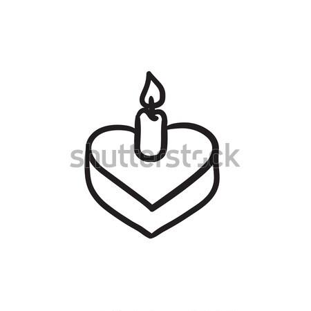 Ciasto Świeca szkic ikona wektora odizolowany Zdjęcia stock © RAStudio