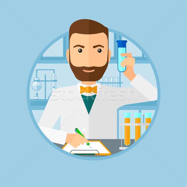 Laboratórium asszisztens dolgozik hipszter szakáll elvesz Stock fotó © RAStudio