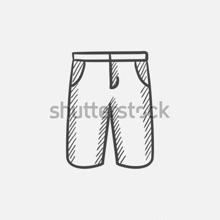 мужчины шорты эскиз икона вектора изолированный Сток-фото © RAStudio
