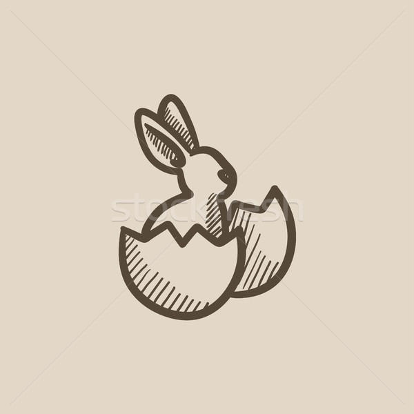 Easter Bunny vergadering ei shell schets icon Stockfoto © RAStudio