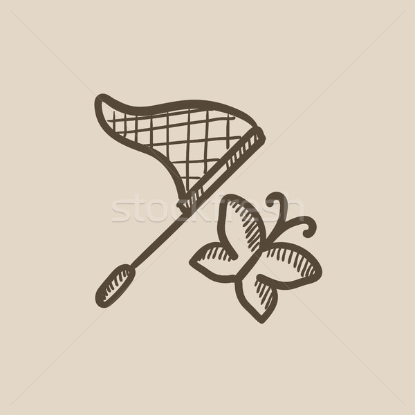 Butterfly and net sketch icon. Stock photo © RAStudio