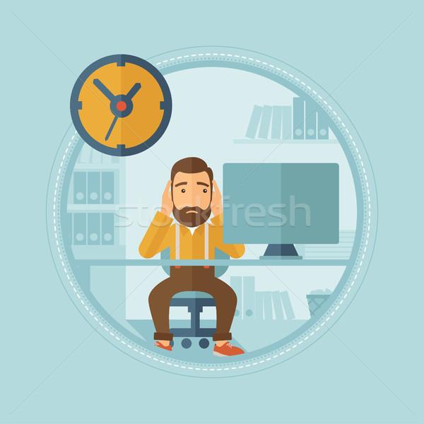 Fáradt alkalmazott határidő aggódó kaukázusi hipszter Stock fotó © RAStudio