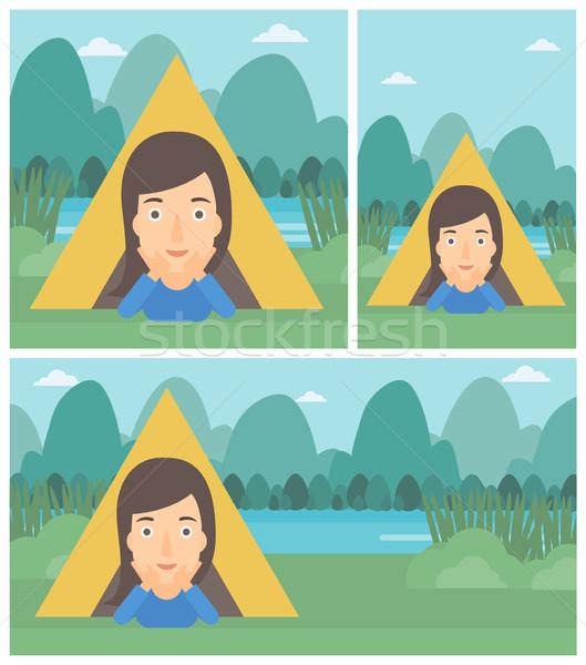 Woman lying in camping tent vector illustration. Stock photo © RAStudio