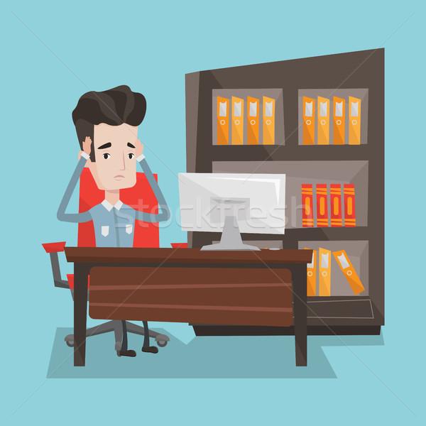 Moe werknemer vergadering kantoor man werkplek Stockfoto © RAStudio