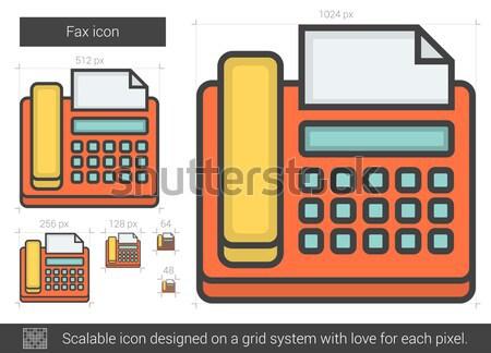 Fax ligne icône vecteur isolé blanche Photo stock © RAStudio