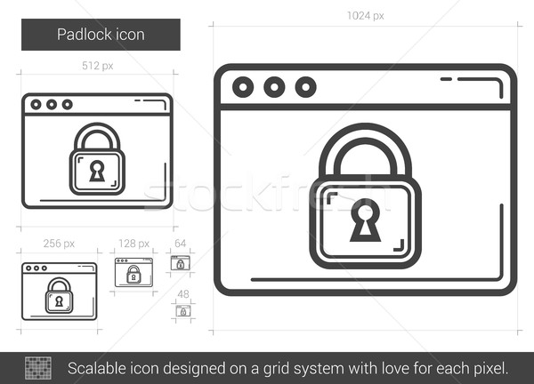 Candado línea icono vector aislado blanco Foto stock © RAStudio