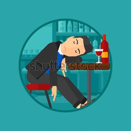 Bêbado homem adormecido bar garrafa copo de vinho Foto stock © RAStudio
