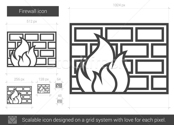 Firewall line icon. Stock photo © RAStudio