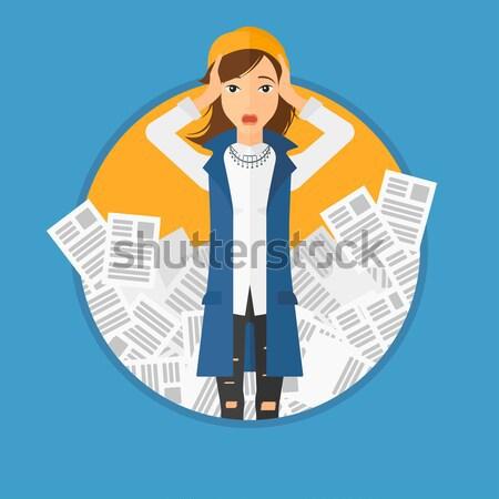 Femme d'affaires travaux tête occupés papiers Photo stock © RAStudio
