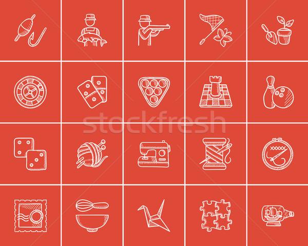 Hobbi rajz ikon gyűjtemény háló mobil infografika Stock fotó © RAStudio