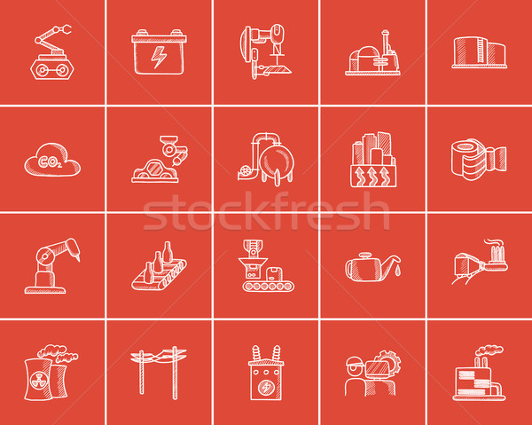 Industry sketch icon set. Stock photo © RAStudio