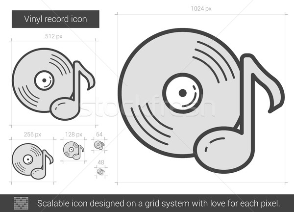 Vinyl record lijn icon vector geïsoleerd Stockfoto © RAStudio