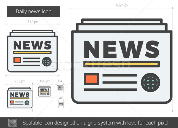 Minden nap hírek vonal ikon vektor izolált Stock fotó © RAStudio