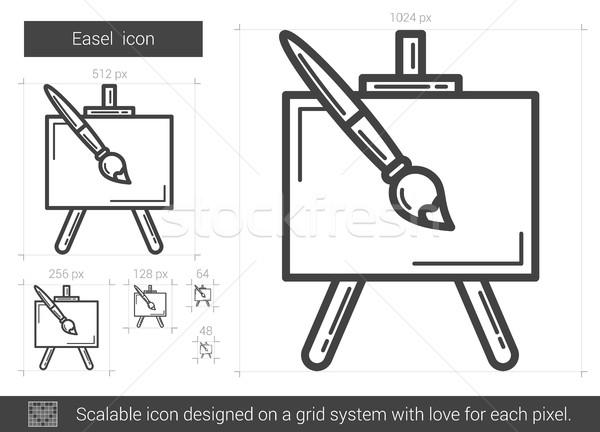 Schildersezel lijn icon vector geïsoleerd witte Stockfoto © RAStudio