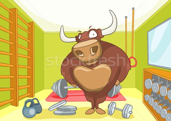 Cartoon background of gym room with bull. Stock photo © RAStudio
