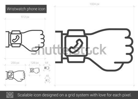 Wristwatch phone line icon. Stock photo © RAStudio